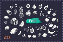 Hand Drawn Fruits And Berries Set. Vector Icons