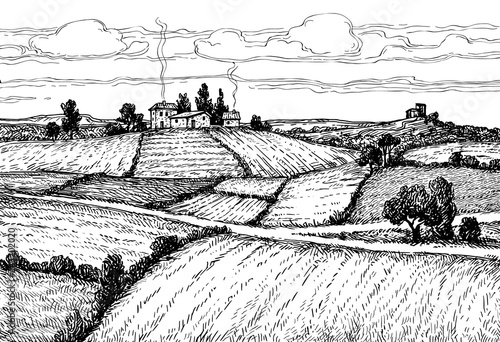 Hand drawn ink sketch rural landscape. Fototapete
