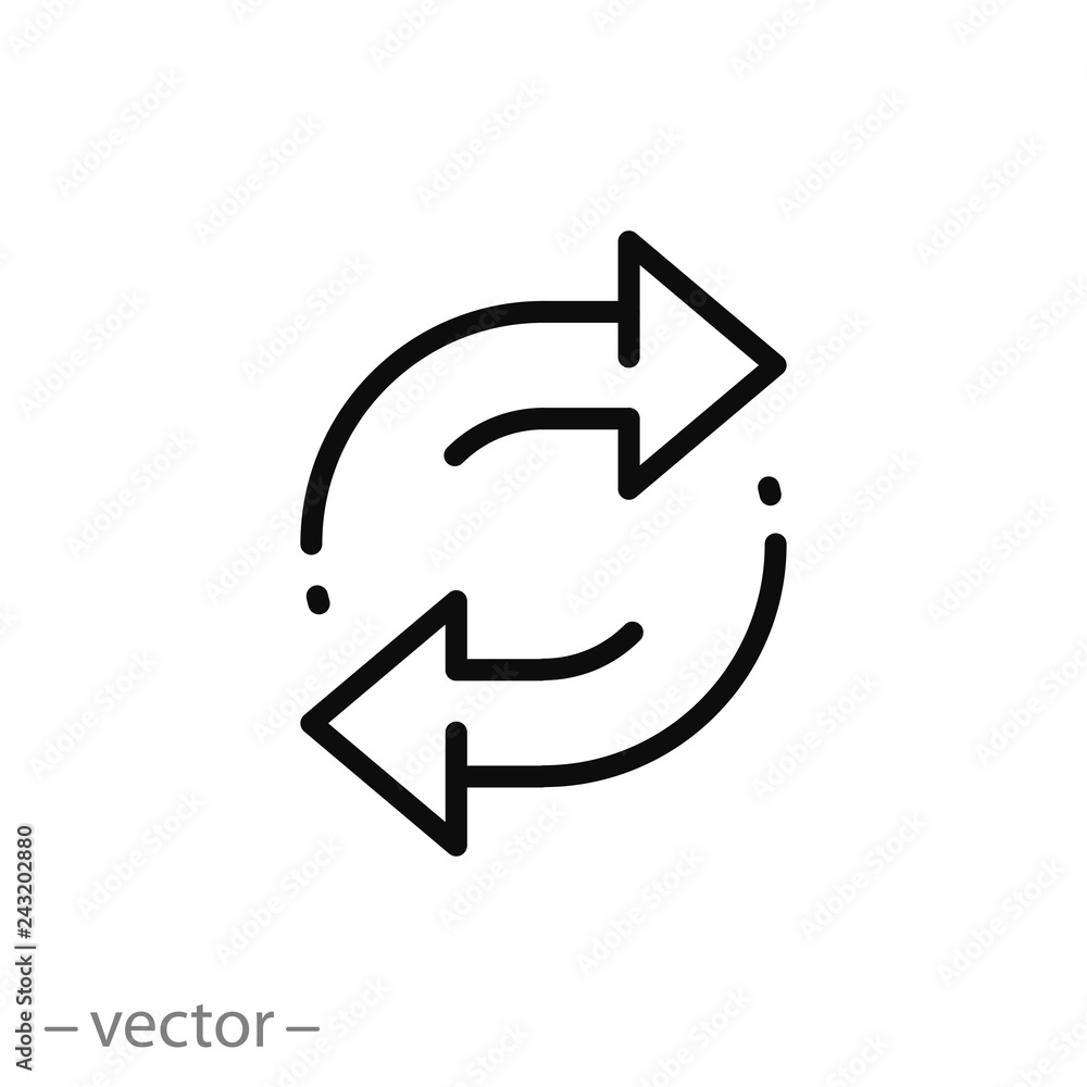 Fototapeta double reverse arrow, replace icon, exchange linear sign on white background - editable vector illustration eps10