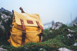 Hipster hiker tourist yellow backpack on background green grass nature in mountain, blurred landscape, traveler relax holiday concept, view planning wayroad in trip vacation, travel adventure