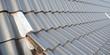 Leinwanddruck Bild - premium banner für Dachdecker Detail in Deutschland. Hallendach mit  schwarzen Dachziegeln neu Dachdecken.
