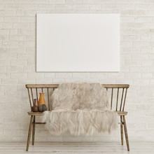 Mock Up Poster On White Brick Wall With Old Bench And Decoration, 3d Render, 3d Illustration