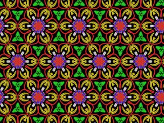 Oriental pattern flower color, illustration. Flower Mandala. Vintage decorative elements. Ornament. Isolated on a black background.