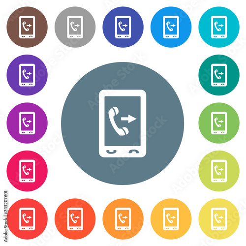 Fotografia, Obraz  Outgoing mobile call flat white icons on round color backgrounds