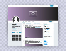 Browser Interface Twitter, Mock Up Website. Photo Frame Post In A Social Network. Mock Up Twitter. Template Account Vector EPS10