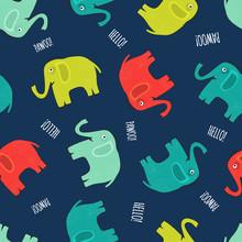Cute Elephant Seamless Pattern Background In Cartoon Design