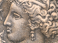 Arethusa Nymph On Old Greece Drachma (1944) Banknote, Vintage Retro Engraving. Ancient Greek Syracuse Coin..