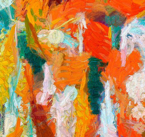 Oil pastel drawing. Abstract color background. Fine art print. Impressionism style abstraction. Modern surrealism painting. Good as wall decor poster. Stock. Surreal design. Handmade texture template.