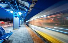 Blurred High Speed Train On Th...