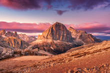 Mountains At Sunset In Dolomit...