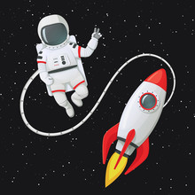 Astronaut Making Peace Sign Tethered To The Rocket Ship With Stars In The Background.