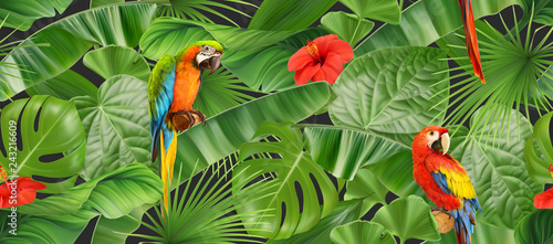 Jungle leaves and parrots, seamless pattern. 3d vector realistic background