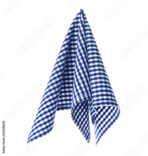 Checkered linen napkin on white background