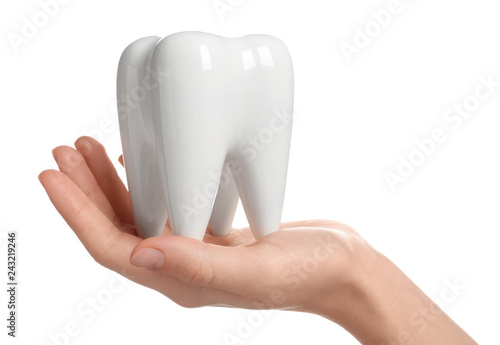 Foto  Woman holding ceramic model of tooth on white background