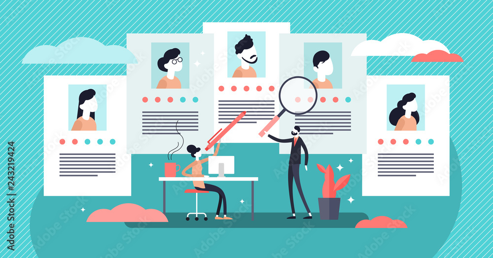 Fototapety, obrazy: Job agency vector illustration. Tiny employee headhunters persons concept.