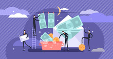 Corruption Vector Illustration. Flat Tiny Persons Money Laundering Concept.