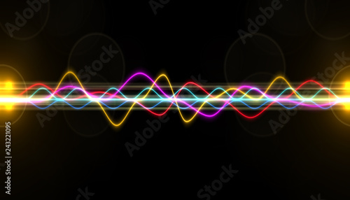 Staande foto Fractal waves Abstract colourful wave for background.Multi Colored digital equalizer, vector of sound wave pattern element