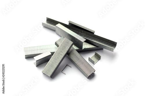 Fotografie, Obraz  Pile of metal steel staples