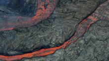 Aerial View Of Cooling Natural Red Hot Lava