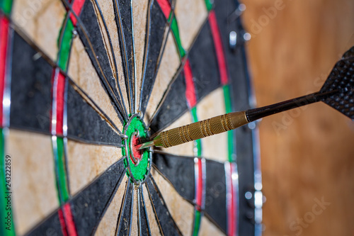 Fotografie, Obraz  Wide shot of dart hitting the bulls eye copy space for text