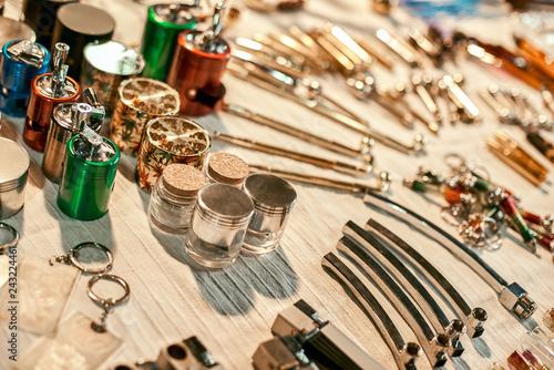 Fotografie, Obraz  Ganja devices handmade. Device for smoking marijuana