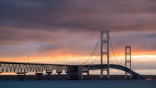 Sunrise At Mackinac Bridge In Michigan
