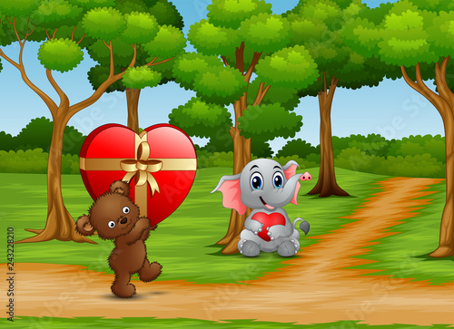 Recess Fitting Ladybugs Cartoon of Teddy bear and baby elephant carrying a red heart