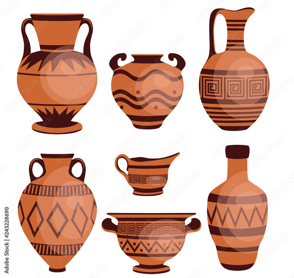 Fototapety, obrazy: Ancient greek vases. Ancient decorative pots isolated on white background, old antique clay greece pottery ceramic bowls vector illustration.