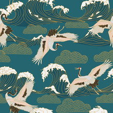 Japanese Storks In Vintage Style On Blue Background. Oriental Traditional Painting. White Stork. Japanese Crane Illustration. Japanese Pattern.