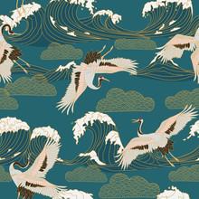 Japanese Storks In Vintage Sty...