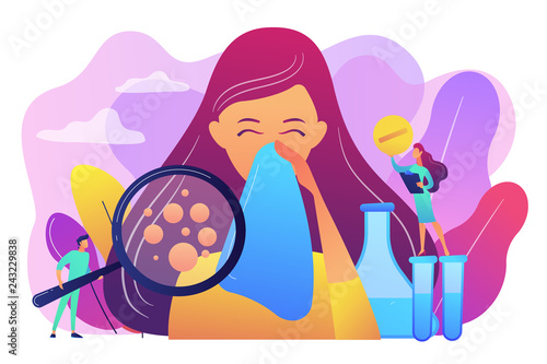 Photo Female patient sneezing, taking a pill from doctor and allergen under magnifier