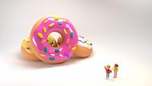 Children Pointing At Big Donut...