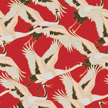 Japanese Japanese Stork Or Pattern. Oriental - Japanese - Seamless Pattern. Crane, Stork, Heron. Flying Heron Bird. Red Background.