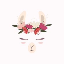 Cute Llama Head With Beautiful Flower Crown