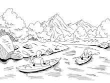 Kayak Boat Travel Graphic Black White River Landscape Sketch Illustration Vector