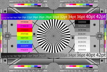 Adjusting Camera Lens Test Target Colour Chart. Tv Screen Background. EPS 10