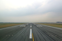 Airport Runway In The Evening ...