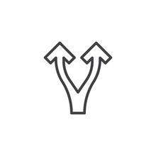 Split Arrows Up Line Icon. Linear Style Sign For Mobile Concept And Web Design. Two Direction Way Arrows Outline Vector Icon. Symbol, Logo Illustration. Pixel Perfect Vector Graphics