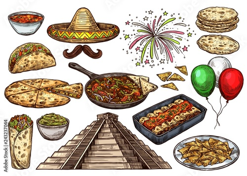 Cinco de Mayo Mexican holiday sketch food