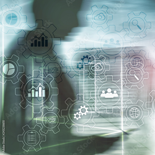 Business process abstract diagram with gears and icons Canvas Print