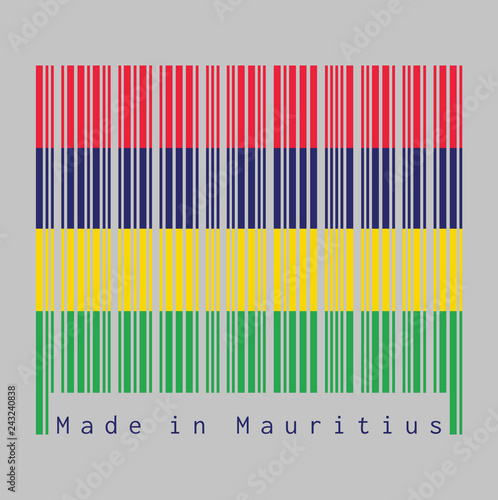Fotografía  Barcode set the color of Mauritius flag, Four horizontal bands of red blue yellow and green