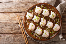 Chinese Dim Sum With Shrimps Served With Microgreen Close-up. Horizontal Top View