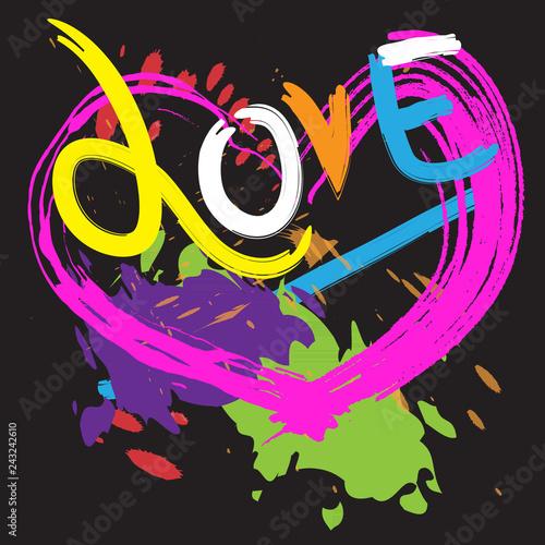 Keuken foto achterwand Art Studio love hearts and brush stroke style design.