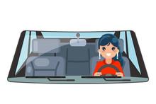 Female Driver Vehicle Interior...