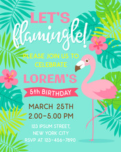 Flamingo And Tropical Leaf Illustration For Party Invitation Card Template