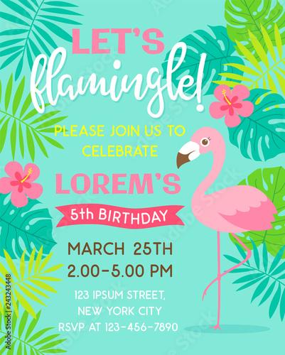Fototapeta Flamingo And Tropical Leaf Illustration For Party Invitation Card Template