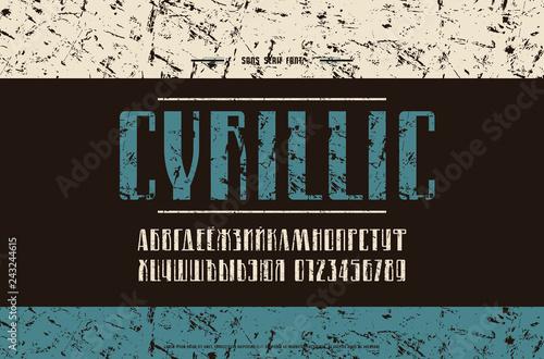 Fotografie, Obraz  Stock vector cyrillic narrow sans serif font