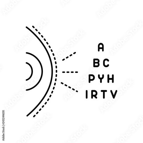 Fotografía  Black line icon for optometry