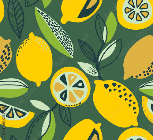 plakat Vector seamless pattern with yellow lemons, branches, absdtact textures