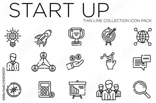 Fotografia  Start up thin line collection icon